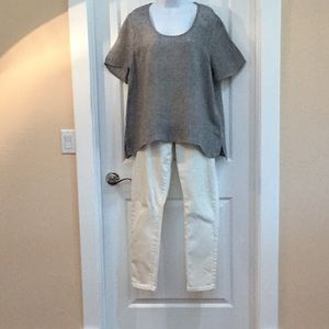 Flax - Ladies Grey and White Blouse Sz. M